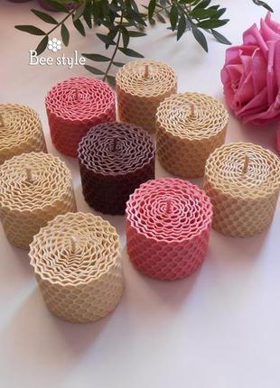 Нежный набор 9 свечей из пчелиной вощины❤