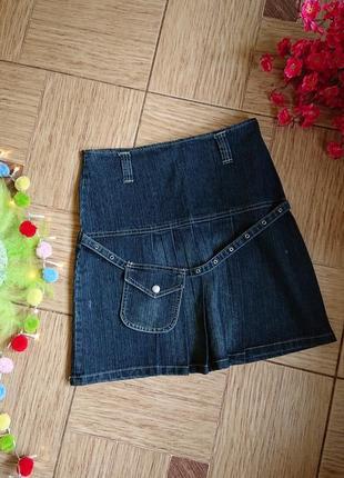 Молодежная джинсовая юбка плиссе