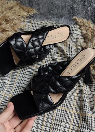 Чёрные шлепки/сабо/босоножки плетеные на каблуке