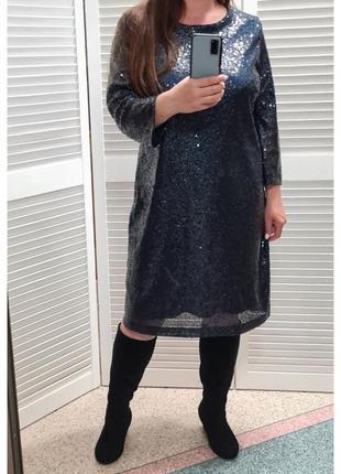 Платье миди в паетку marks&spencer большого размера