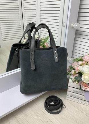 Женская замшевая сумка темно серый среднего размера