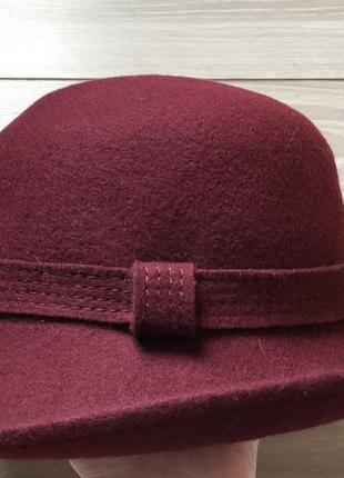 Шляпа шерсть цвет марсала бордо