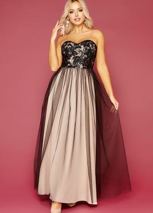 Изысканное вечернее платье с открытыми плечами