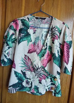 Актуальная льняная блуза на запах