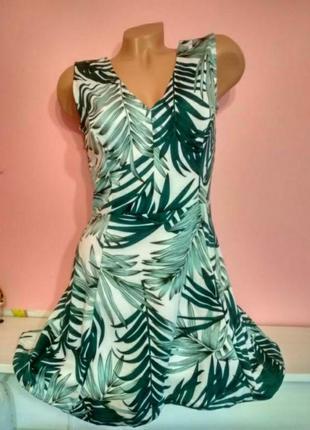 Брендовое платье туника сукня сарафан тропический принт листья
