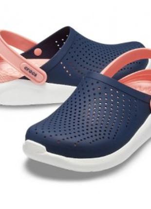 Сабо кроксы crocs literide™ clog navy/melon (розовый-синий)