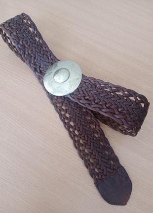 Широкий плетеный ремень из натуральной кожи