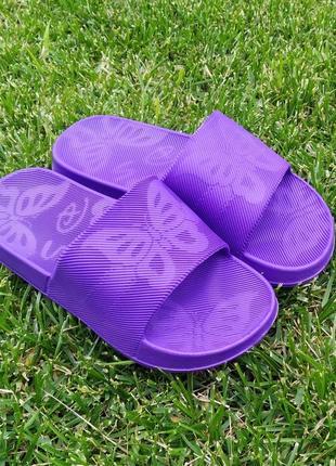 Шлёпки шлёпанцы женские резиновые шльопанці жіночі летние тапки тапочки фиолетовые