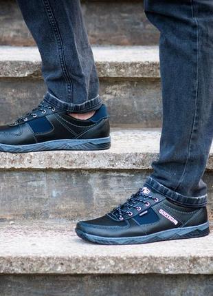 Мужские черные кроссовки демисезонные, прошитые (кф-7ч)