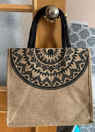 Летняя сумка шопер пляжная холщовая бежевая в орнамент тканевая