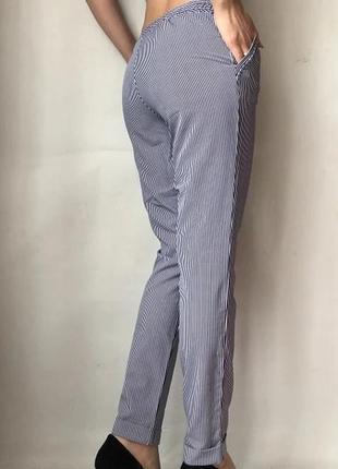 Летние лёгкие штаны в полоску, брюки в полоску баттальные, штаны больших размеров,султанки.