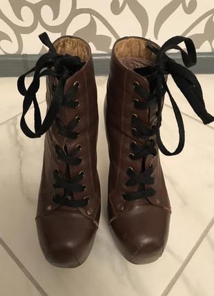 Сапоги коричневые ботильоны ботфорты ботинки актуально осенние