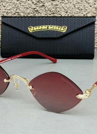 Chrome hearts очки унисекс солнцезащитные модные ромбовидные безоправные бордовые с золотом