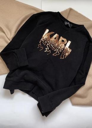 Трендовый черный свитшот, толстовка, кофта, джемпер на флисе с пайетками karl lagerfeld, p.s