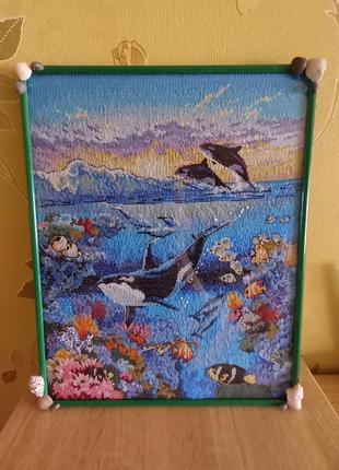 """🖼 большая вышитая картина """"живой океан"""", вышивка крестом, ручная работа"""