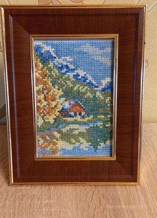 """🖼 картина """"домик в горах"""", вышивка крестом, ручная работа"""