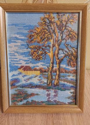 """🖼 картина """"весенний пейзаж"""", вышивка крестом, ручная работа"""