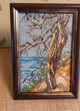 """🖼 картина """"дерево над морем""""  вышивка крестом, ручная работа"""