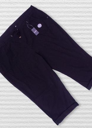 Чёрные коттоновые укороченные брюки george большого размера