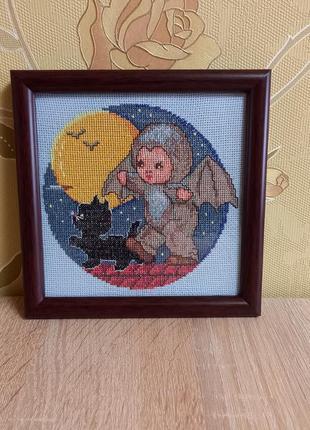 """🖼 картина """"летучий мышонок"""", вышивка крестом, ручная работа"""