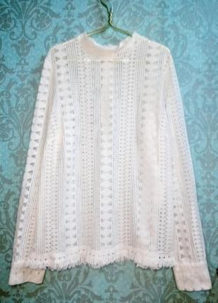 Naf naf  белая ажурная кофта блуза из кружева
