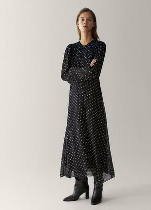 Платье массимо дутти, платье massimo dutti, платье миди, платье в горох, коктейльное платье