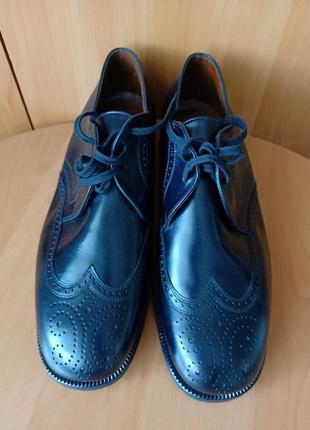 Black классические кожаные туфли лоферы броги /размер 43