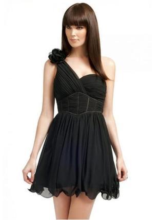 Пышное мини платье черное, фатин, выпускное, нарядное, на одно плечо