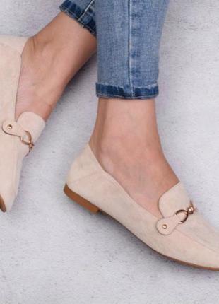 Комфортные туфли женские на низком каблуке из искусственного материала / новинка / бежевые / 36-41р