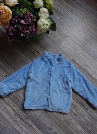 Детская теплая плюшевая кофта велюр джемпер махра пуловер 2 -3 года
