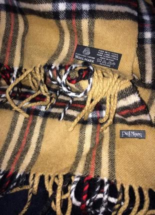 Del mare  1911 тёплый клетчатый шарф  чистая шерсть