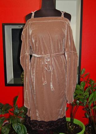 Скидка!разные расцветки! бархатное вечернее красивое платье с кружевом