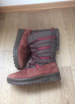 Кожаные, зимние сапоги, ботинки  puma gore-tex 41р 26,5 см вся стелька