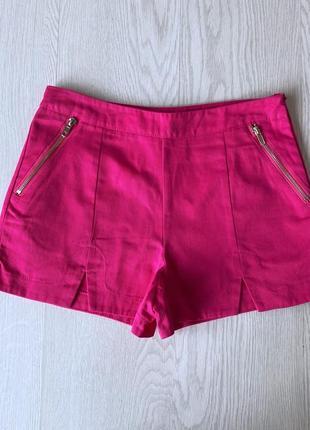 Розовые шорты с высокой посадкой на молнии катоновые джинсовые