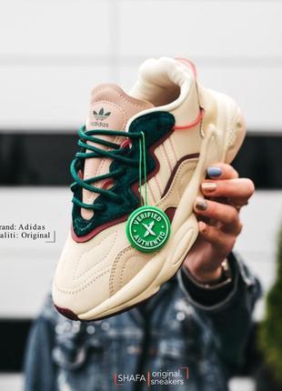Оригинальные adidas ozweego бежево зеленый ( coffee cream) q46167 женские