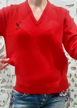 Свитер женский люкс яркий  красный шерсть pure 100% шерстяной3 фото
