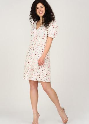 Літня біла міні-сукня в принт | 45561