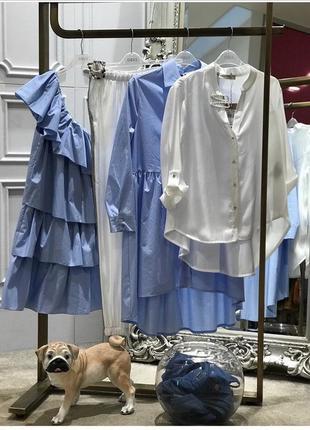 Голубое хлопковое платье rinascimento
