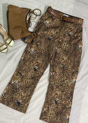 Трендовые расклешенные брюки/джинсы леопардовый анималистичный принт