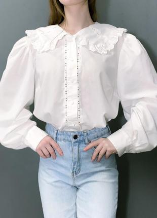 Винтажная блуза canda большой кружевной воротник рукава-буфы
