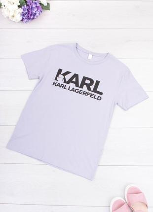 Стильная фиолетовая сиреневая лиловая футболка с надписью