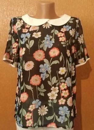 Шифоновая блузка воротник короткий рукав принт цветы размер 10-12 atmosphere