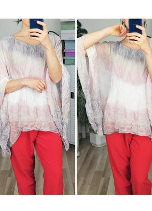 Роскошная блузка шелкавая летняя блузка оверсайз летучая мышь