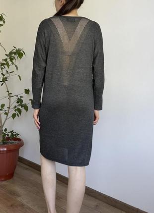 Базовое серое платье длинный рукав открытая спина only zara h&m asos