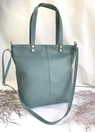 Кожаная сумка голубая италия
