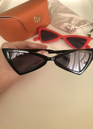Модные черные ретро - очки с черными линзами кошачий глаз лето 2021