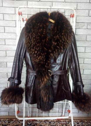 Зимняя кожаная куртка-трансформер