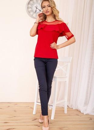 Яркая красная с воланом блуза кофта праздничное s m l