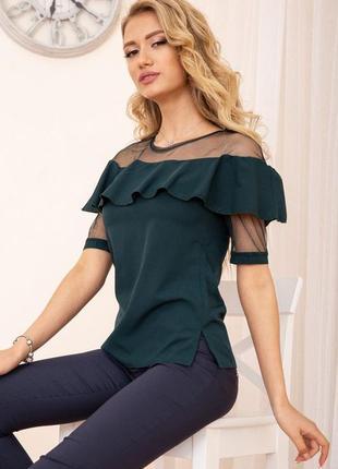 Сетка блуза с воланом шикарная цвета s m l