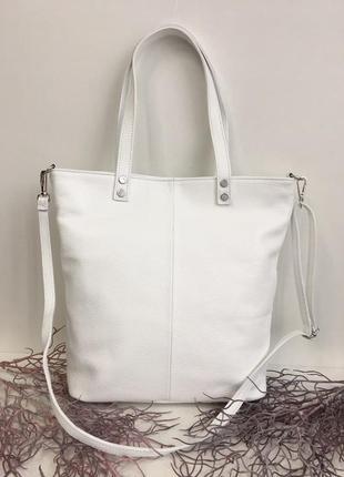 Кожаная сумка италия белая